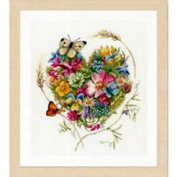 Lanarte Embroidery Package Cross Stitch Heart Made of Flowers with Yarn 31x35 cm