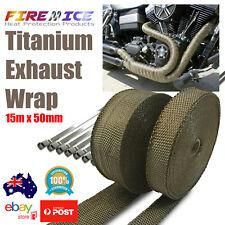 Exhaust Wrap Motorbike Motorcycle Bike Titanium 15m x 50mm Harley Heat Wrap