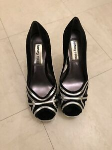Luxury Rebel Black Peep Toe Shoes Size 5 Silver Stiletto Heels Velvet Accent