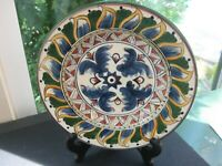 Tabletops Unlimited Deruta Hand-Painted Blue Feathers/ Leaves 1 Salad Plate