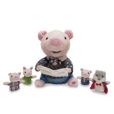 Preston the Storytelling Pig Plush Doll & Four Finger Puppets -Three Little Pigs