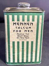 Vintage MENNEN TALCUM FOR MEN 9oz. TIN PAPERBOARD CAN Green/White STRIPE