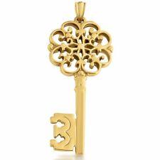 Vintage Artisan Filigree Key Pendant #Gold Plated Sterling Silver #Azaggi P0205G