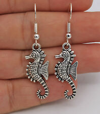 """925 Silver Plated Hook - 1.9"""" Simple Punk Animals Sea Horses Party Earrings #61"""