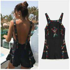 Zara Embroidered Dungaree Shorts Size MEDIUM BNWT