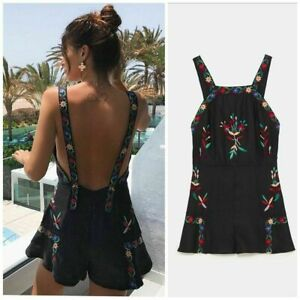 Zara Embroidered Dungaree Shorts Size XSMALL BNWT