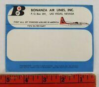 Vintage Bonanza Airlines Silver Dart Jet Las Vegas Nevada Luggage Label