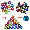 50pcs M4 Aluminum Countersunk Flat Head Screw Bolt Gasket Washer Multi-Color New