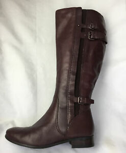 Autograph Ladies Knee High Boots UK Size 6 EU 39 Burgundy Leather.