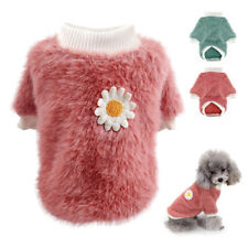 Small Dog Jumpers Pajamas Pet Cat Dog Thick Velvet Sweater Clothes with Flower