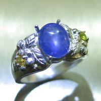 3.6ct Natural cornflower blue Star Sapphire 925 silver/9ct 14k 18k Gold ring