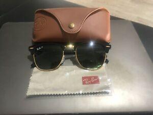 RAYBAN CLUBMASTER CLASSIC RB3016 Black/Gold Polarized Sunglasses