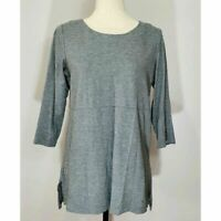 J Jill Womens XS Gray Ponte Tunic 3/4 Sleeve Scoop Neck Top