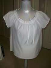 Women's THEORY white semi-sheer bow blouse short sleeve NWT M $160