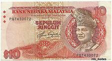 """MALAYSIA  RM10 5th Series  AZIZ TAHA  PQ Last Prefix ERROR """"Print Shift""""  """"VF+"""""""