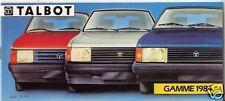 TALBOT catalogue gamme  1984     samba  horizon  solara