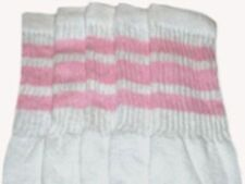 "25"" KNEE HIGH WHITE tube socks with BABY PINK stripes style 1 (25-5)"