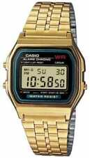 Relojes de pulsera de acero inoxidable dorado de alarma para hombre