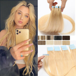 Tape In 100% Remy Human Hair Extensions Russian Invisible Skin Weft Full Head US