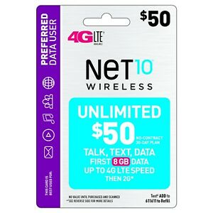 NET 10 REFILL  Prepaid $50 Refill Top-Up , AIRTIME  RECHARGE  UNLIMITED TALK/TEX