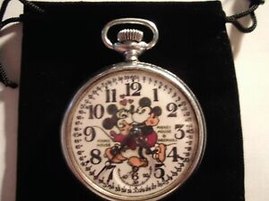 1930s Ingersoll Micky Mouse & Minnie Mouse Theme Dial & Case Runs Well.