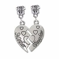 2PC Mother Daughter Half Heart Mom Gift Dangle Charm for European Bead Bracelets