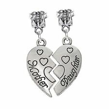 2PC Mother Daughter Half Heart Mom Gift Dangle Charm for European Bead Bracelets