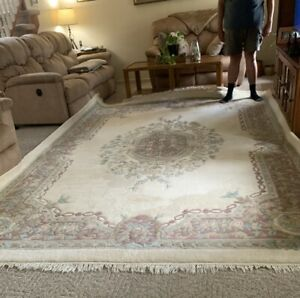 """Large 8'5"""" x 11'5"""" Indian Aubusson Oriental Rug Wool Pile Hand Made ~ Certified"""