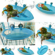 HOT Plastic Birds Cage Bath Basin With Mirror For Pets Small Bird Parrot Bathtub