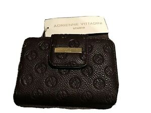 Adrienne Vittadini French Purse Wallet Brown Deboss