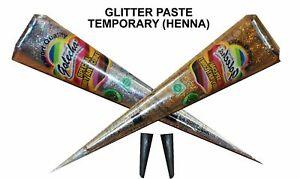 Golecha Henna Mehandi Temporary Tattoo - Glitter - 1 Silver + 1 Golden Cones