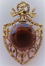 Vintage Large Topaz Glass Knight Shield Fleur de Lis Pin