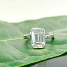 Ring In Solid 14k White Gold Fancy 5Ct White Emerald Moissanite Bezel Engagement