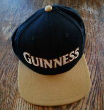 Guinness Beer Embroidered Snapback Hat Baseball Cap Black Tan