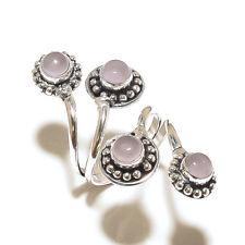 Stylish Ring Silver Plated Rose Quartz Gemstone Fashion jewelry
