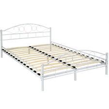 Cama de metal con somier matrimonial doble dormitorio hogar 140x200cm blanco NUE