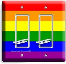 RAINBOW COLORS FLAG DOUBLE GFCI LIGHT SWITCH WALL PLATE DECOR GAY LESBIAN PRIDE