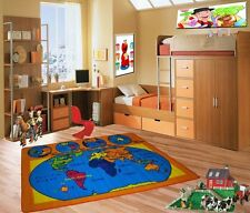 World Map Kids Area Rug 3' x 5' Children Earth Carpet -  Non Skid Gel Backing