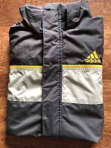 Adidas Youth Full Zip Hooded Jacket Medium (10-12) Gray Long Sleeve Gold Accent