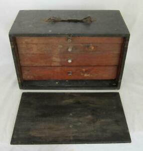 VINTAGE ENGINEERS WOODEN TOOL CHEST CABINET BOX with DRAWERS vintage