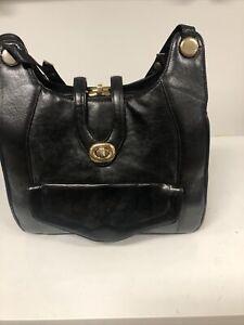 Vintage Zenith Handbag Purse Black Leather Hand Made Gold Hardware 60's Retro