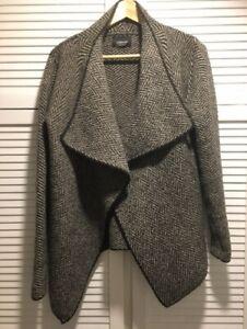 ZARA KNIT Womens Cardigan Tweedy Grey Fabric Loose Shawl Style EU Size Medium