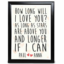 How Long Will I Love You Personalised Gifts For Him Girlfriend Anniversary
