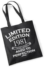 39th Birthday Gift Bag Tote Shopping Limited Edition 1981 Aged To Perfection Mum