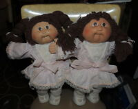Cabbage Patch Kids CPK 1985 Brunette Girl TWINS~Pink Dresses w/Lace Tights