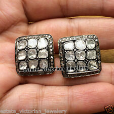 Estate Vintage 3.89Cts Natural Rose Antique Cut Diamond Silver Earring Jewelry