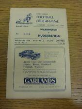 06/10/1956 liga de rugby programa: Warrington V Huddersfield (Rusty Grapas). Bo