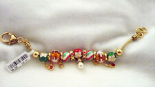 NWT gold tone Christmas slide bracelet with beads & charms poinsettas,stars etc