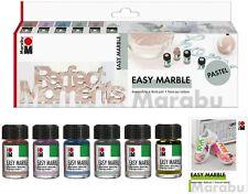 Marabu Marmorier Farbe Easy Marble Set PASTELL 6 x15ml farbig basteln Hobby neu