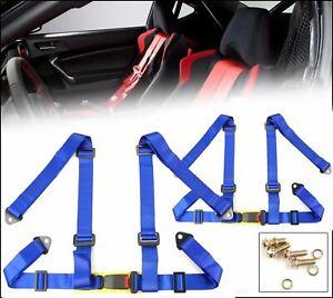 "2 x Blue 4 Point 2"" Width Nylon Buckle Racing Seat Belt Harness For Subaru Mazda"